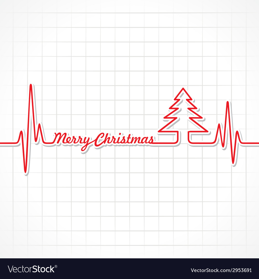 Heartbeat make merry christmas text and tree vector | Price: 1 Credit (USD $1)