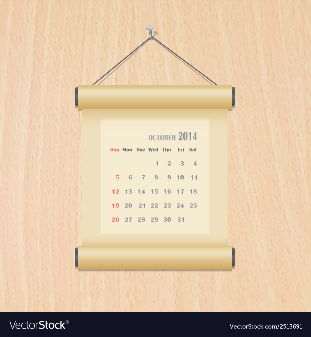 October2014 calendar on wood wall vector | Price: 1 Credit (USD $1)