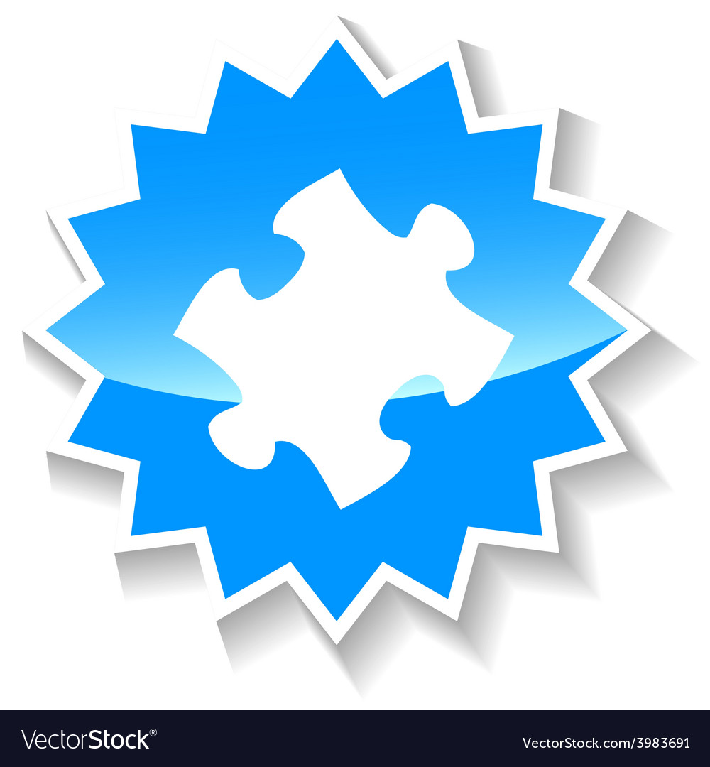 Puzzle blue icon vector | Price: 1 Credit (USD $1)