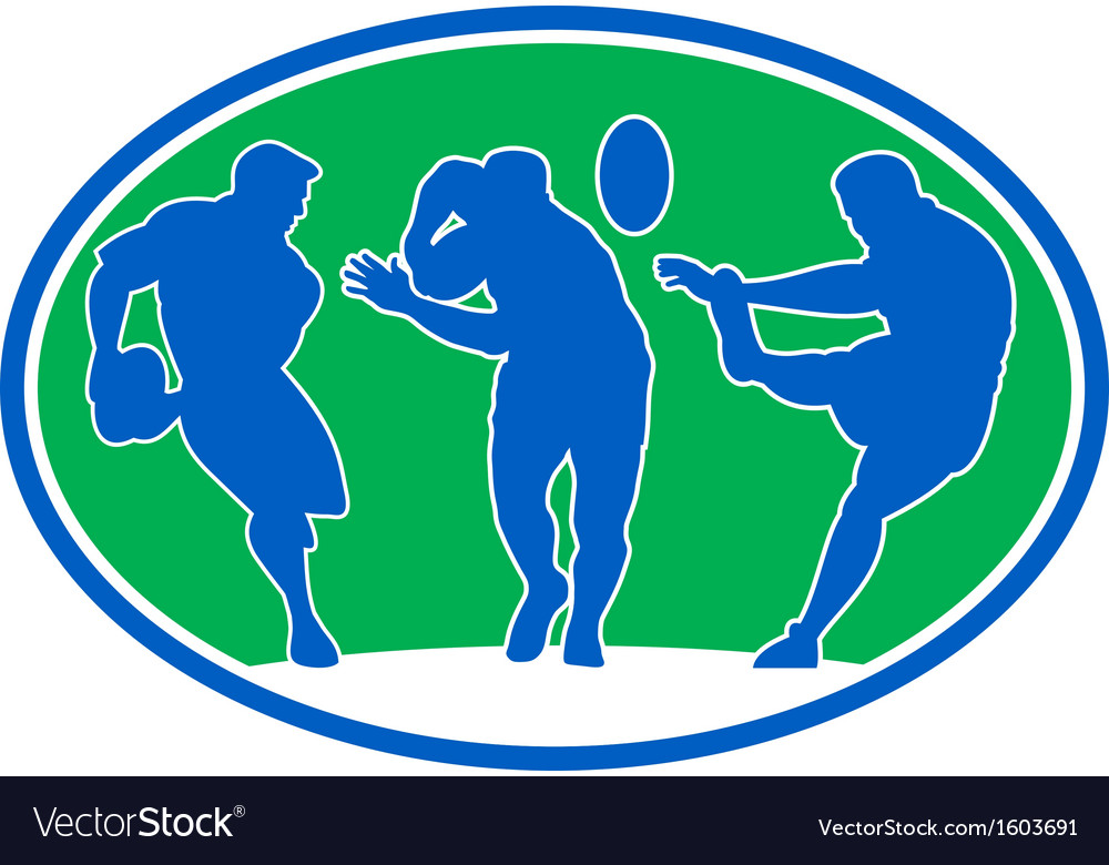 Rugby player run fend pass kick vector | Price: 1 Credit (USD $1)