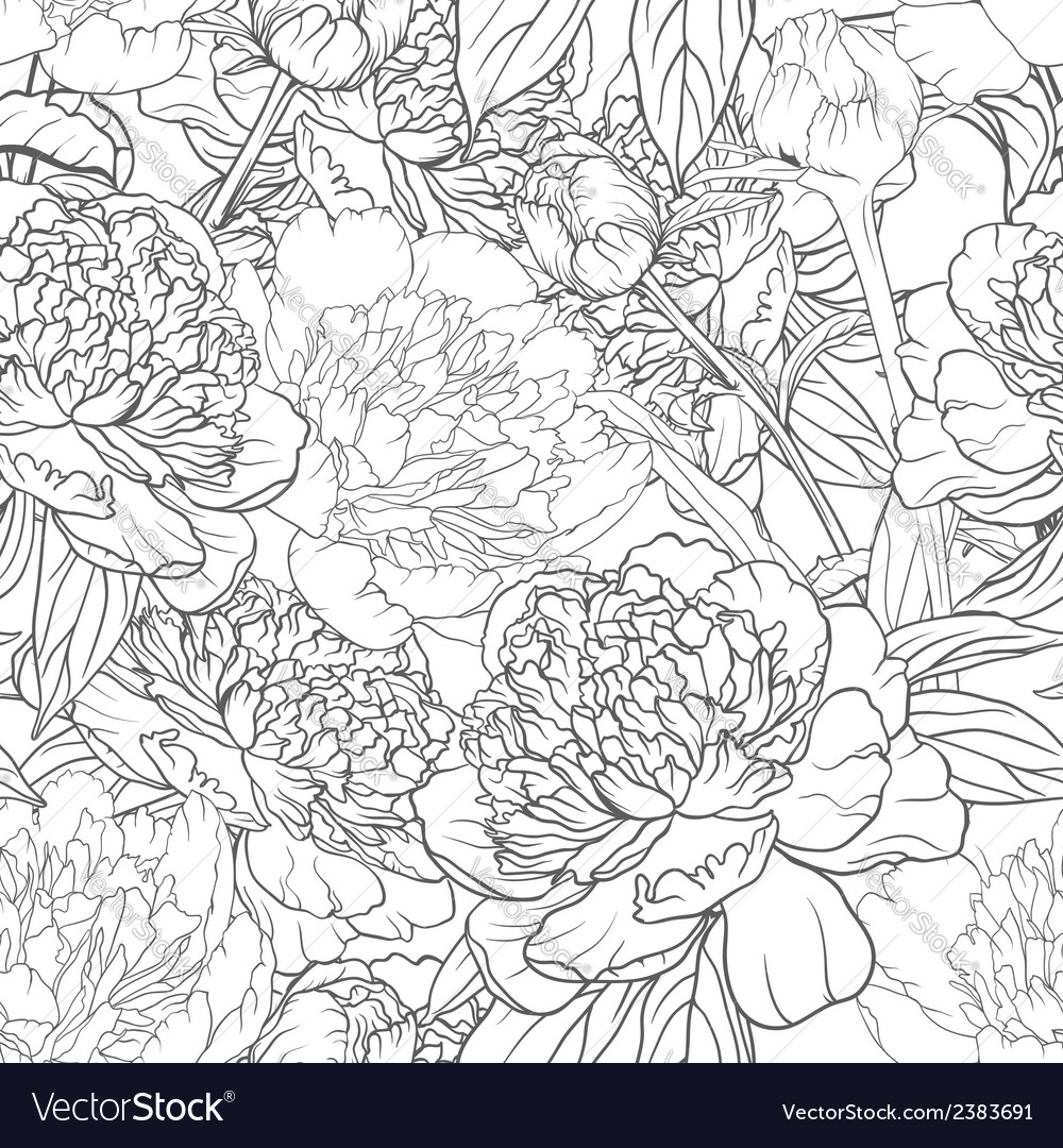 Seamless monochrome floral pattern with peonies vector | Price: 1 Credit (USD $1)