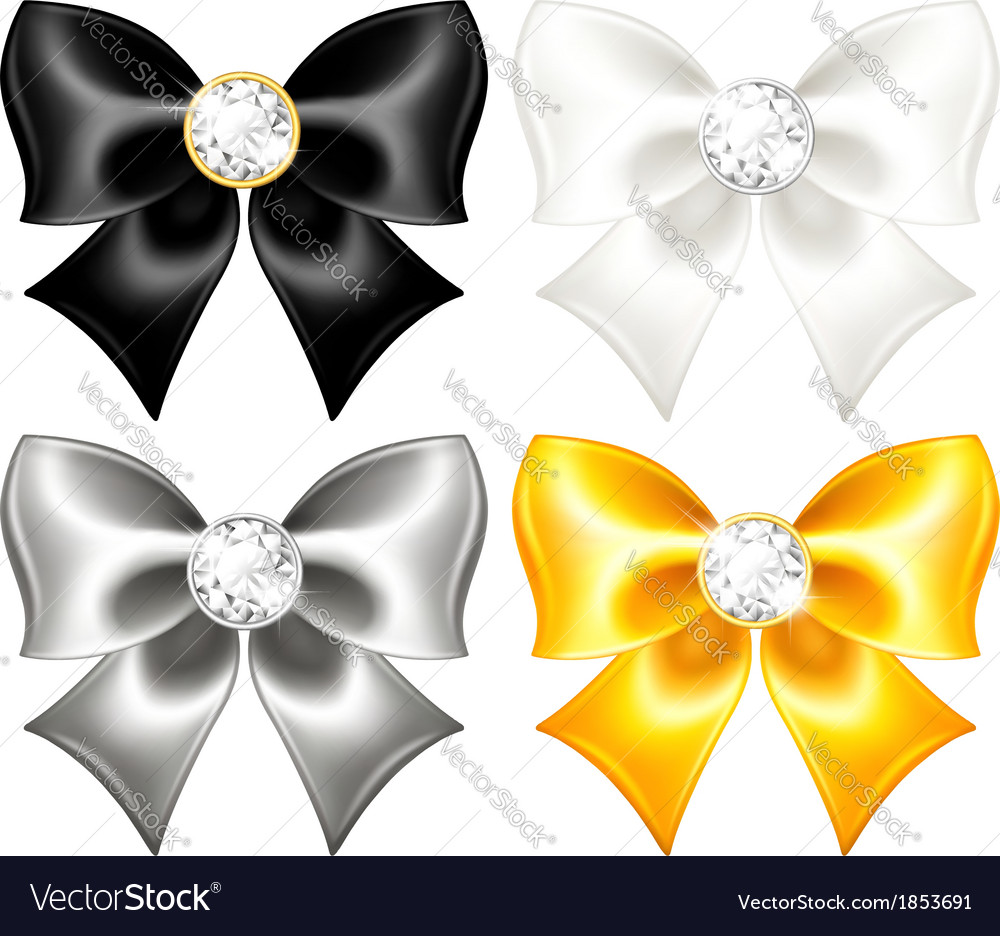 Silk bows black and gold with diamonds vector | Price: 1 Credit (USD $1)