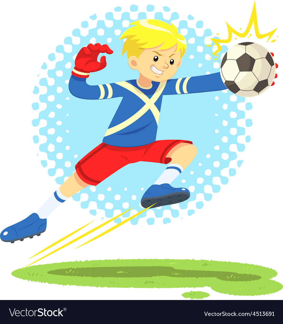 Soccer boy jump aside to catch the ball vector | Price: 1 Credit (USD $1)