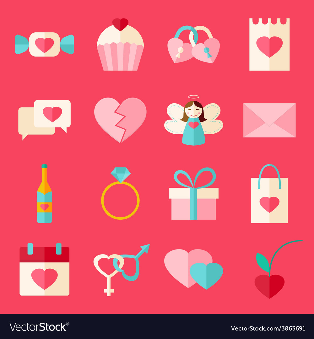 Valentine day flat style icon set over pink vector | Price: 1 Credit (USD $1)
