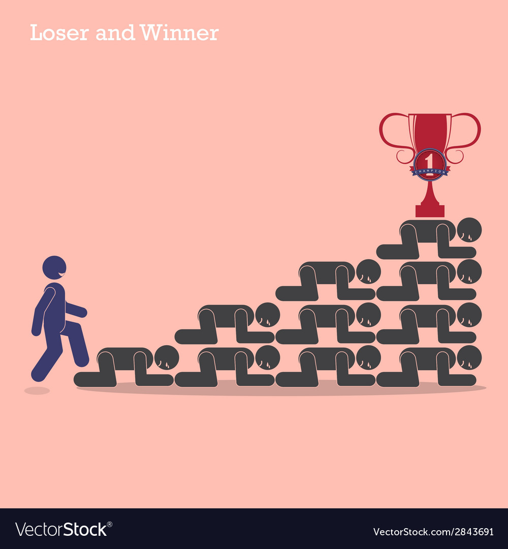 Winner walk over stairs of loser concept vector | Price: 1 Credit (USD $1)
