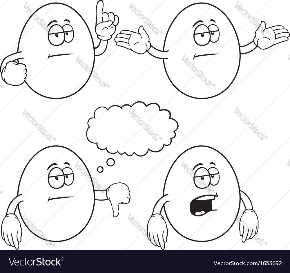Black and white bored egg set vector | Price: 1 Credit (USD $1)