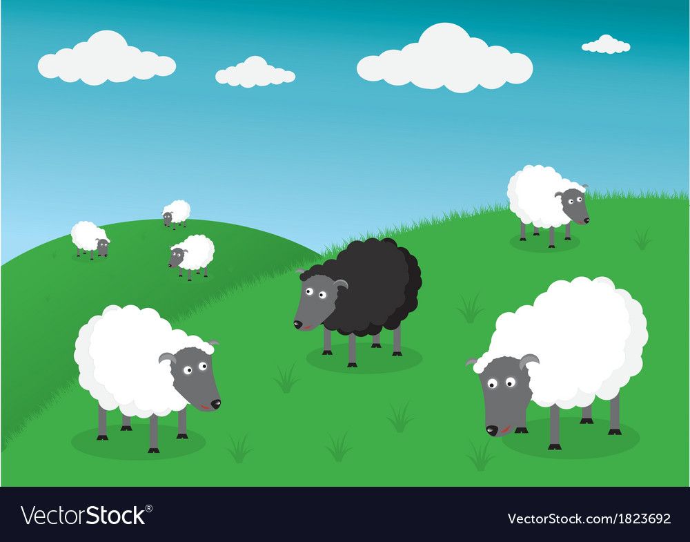 Black and white sheep vector | Price: 1 Credit (USD $1)