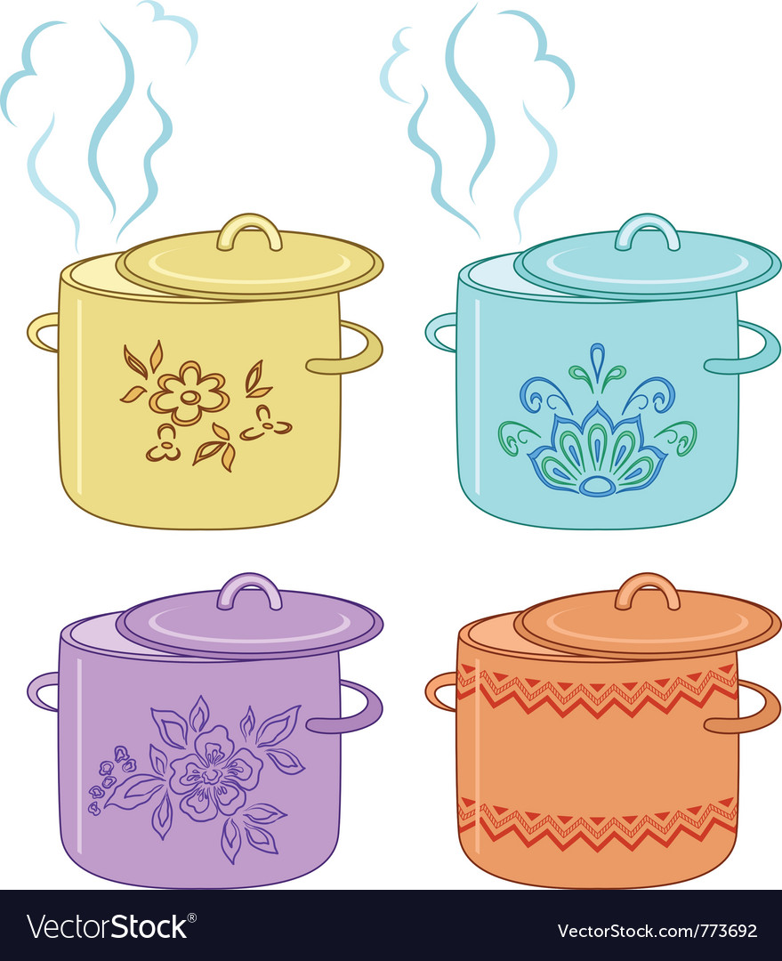 Boiling pan with pattern set vector | Price: 1 Credit (USD $1)