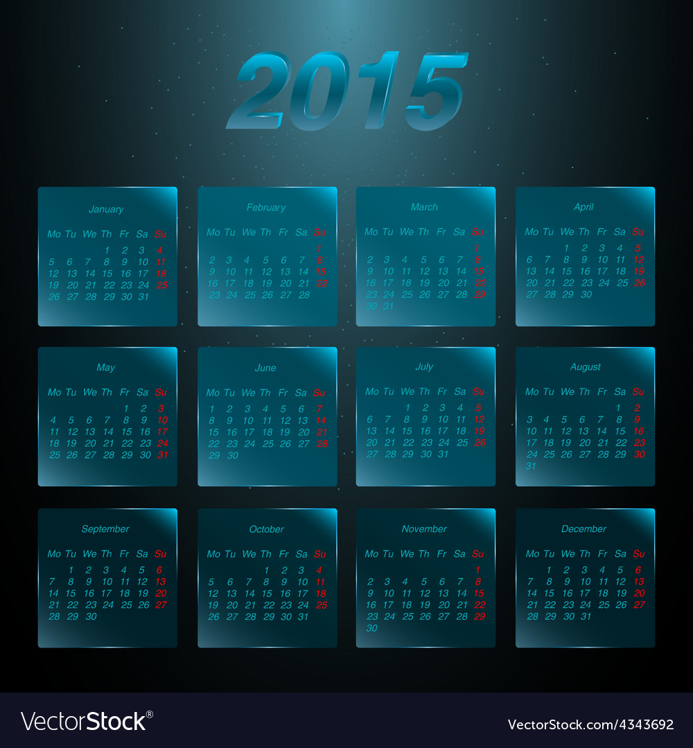 Calendar 2015 on the glass frosted panels vector | Price: 1 Credit (USD $1)