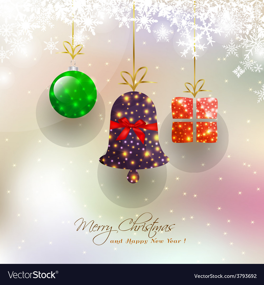 Christmas card with hanging bauble vector | Price: 1 Credit (USD $1)