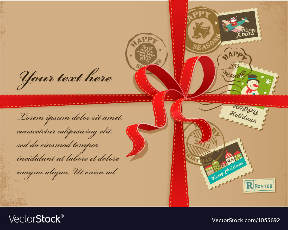 Christmas gift with red ribbon and vintage postage vector | Price: 1 Credit (USD $1)