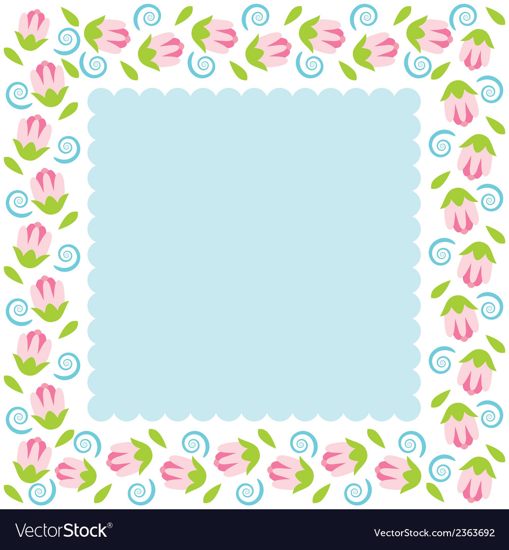 Colorful flowers border vector | Price: 1 Credit (USD $1)