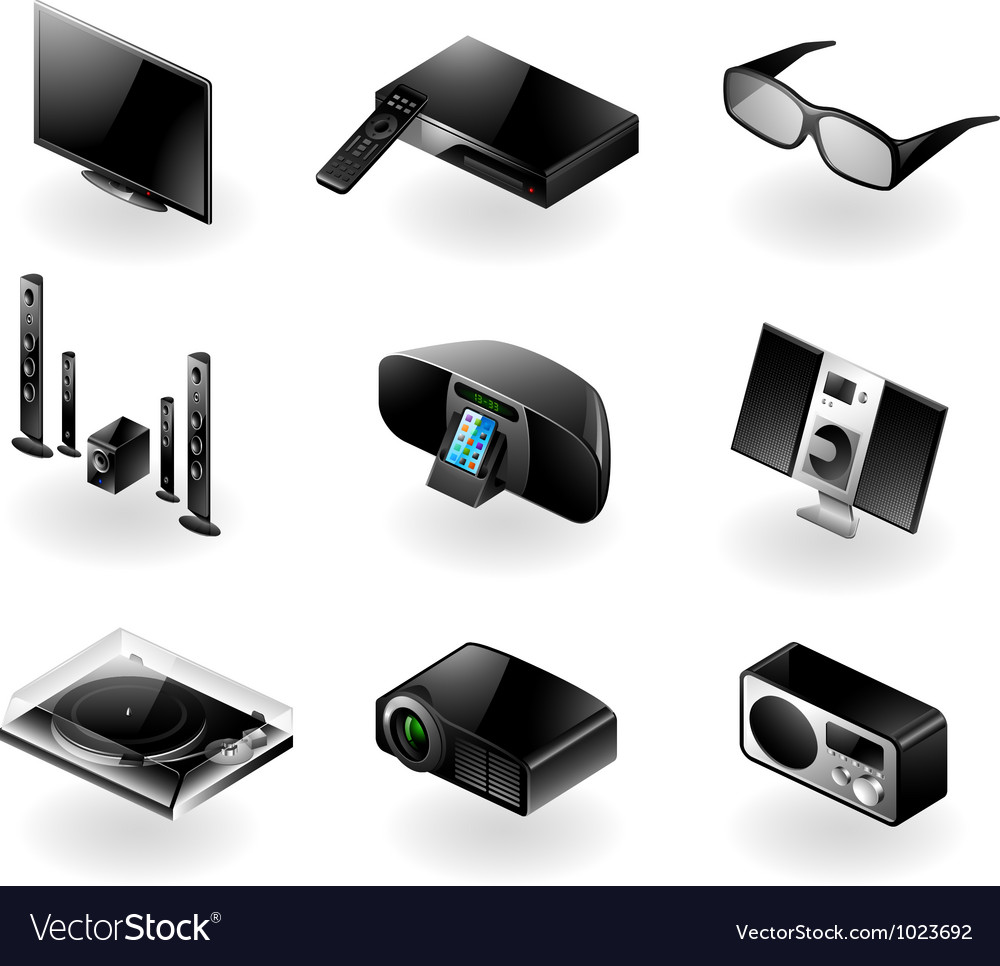 Electronics icon set - tv and audio vector | Price: 3 Credit (USD $3)