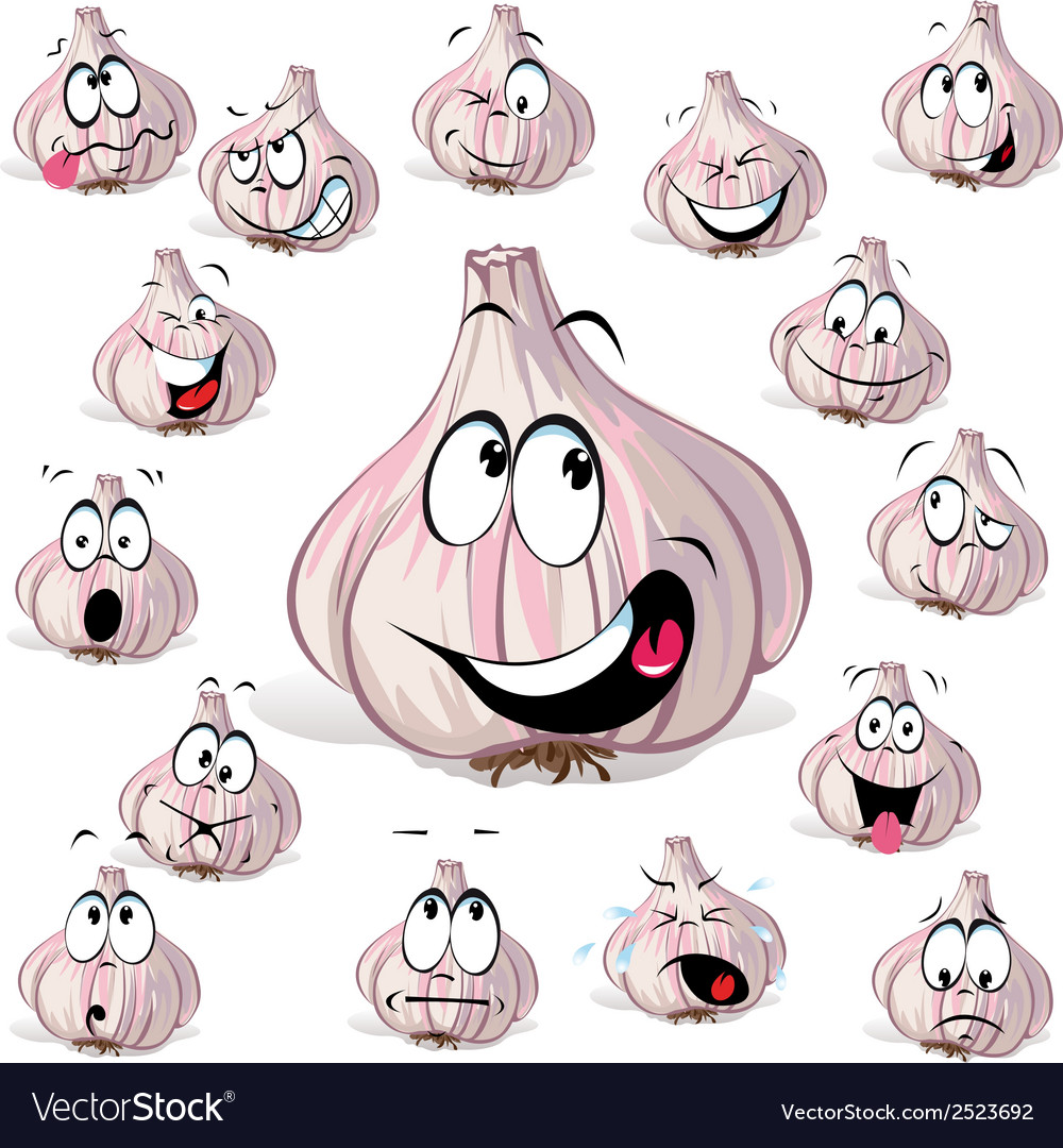 Garlic cartoon vector | Price: 1 Credit (USD $1)