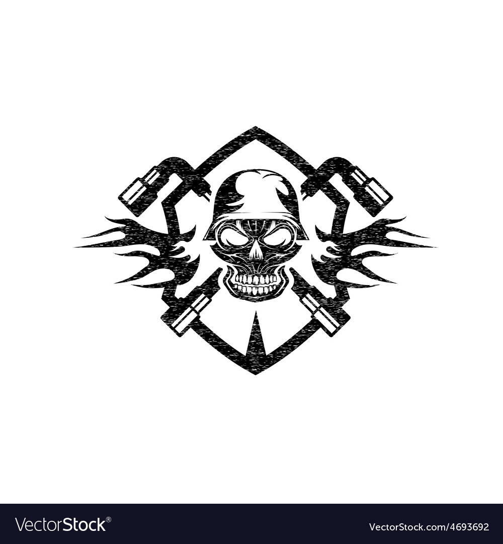 Grunge crest with skull in helmet and spanners vector | Price: 1 Credit (USD $1)