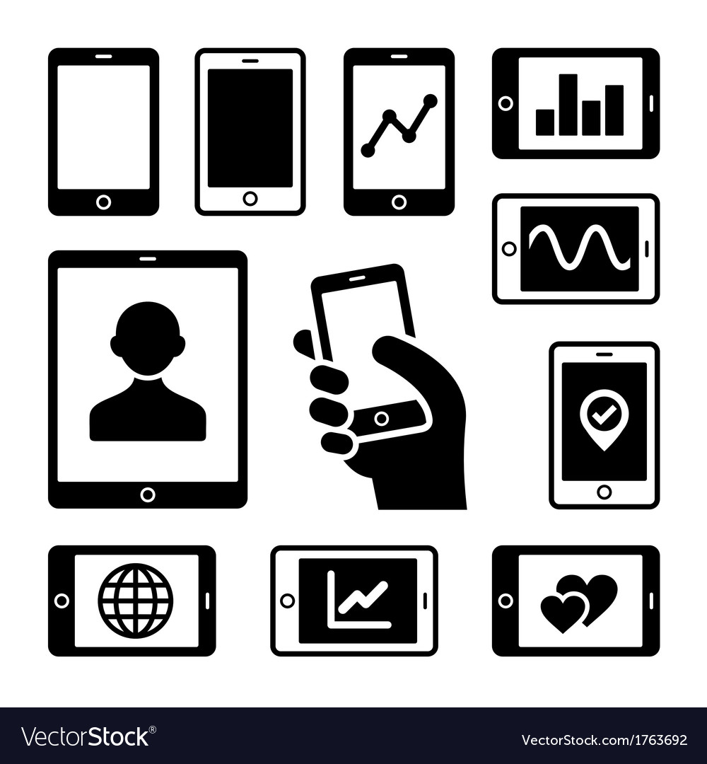 Mobile gadgets with business diagrams icons set vector | Price: 1 Credit (USD $1)