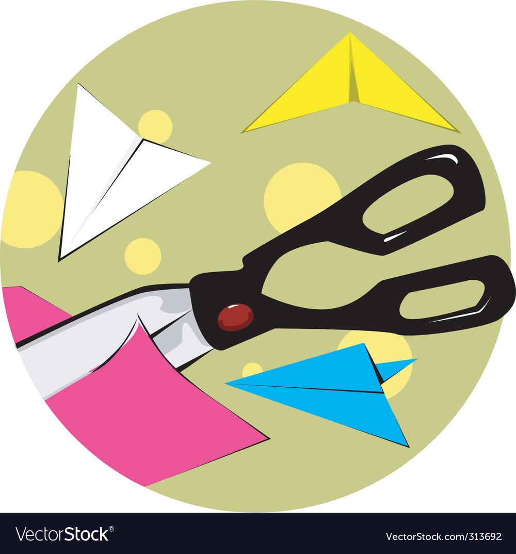 Scissors cutting paper vector