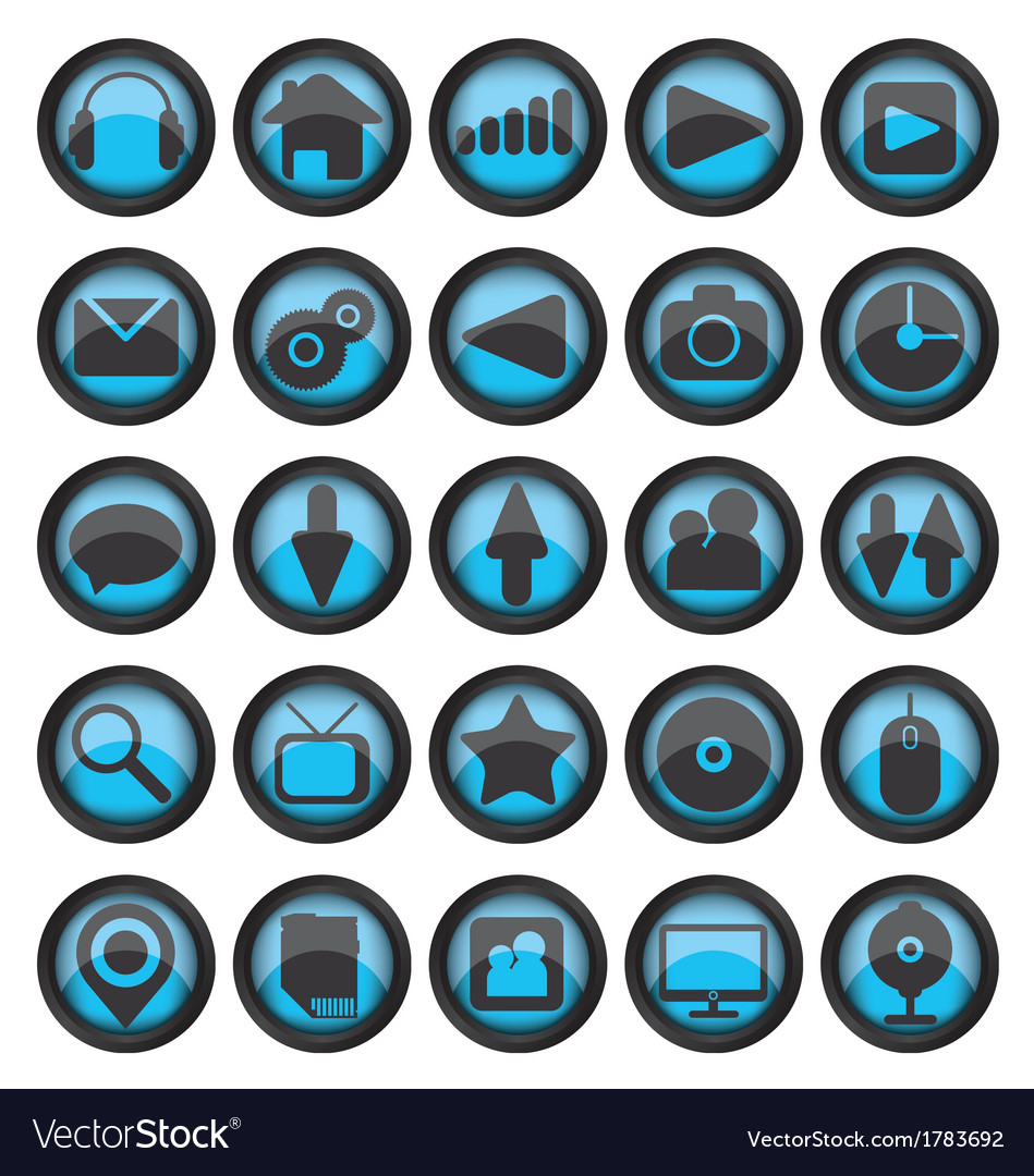 Set of web glass icons vector | Price: 1 Credit (USD $1)