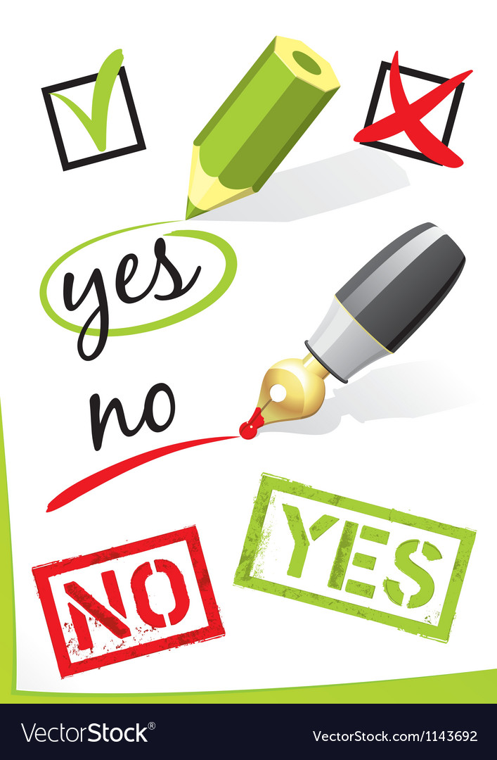 Yes and no written on paper vector | Price: 1 Credit (USD $1)