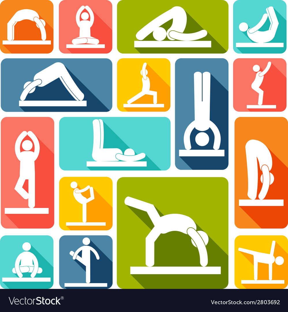 Yoga exercises icons flat vector | Price: 1 Credit (USD $1)