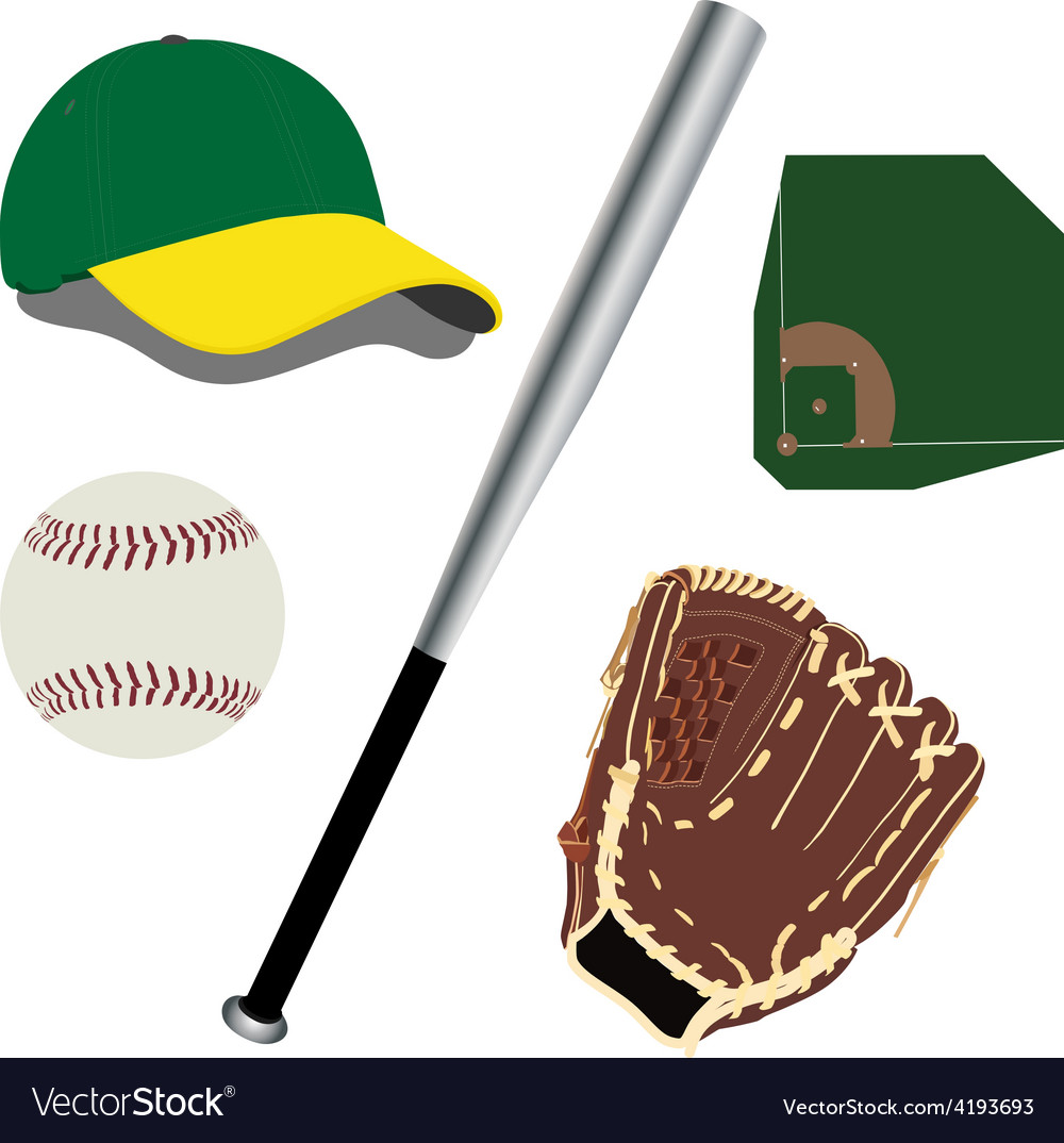 Baseball field ball glove hat and bat vector