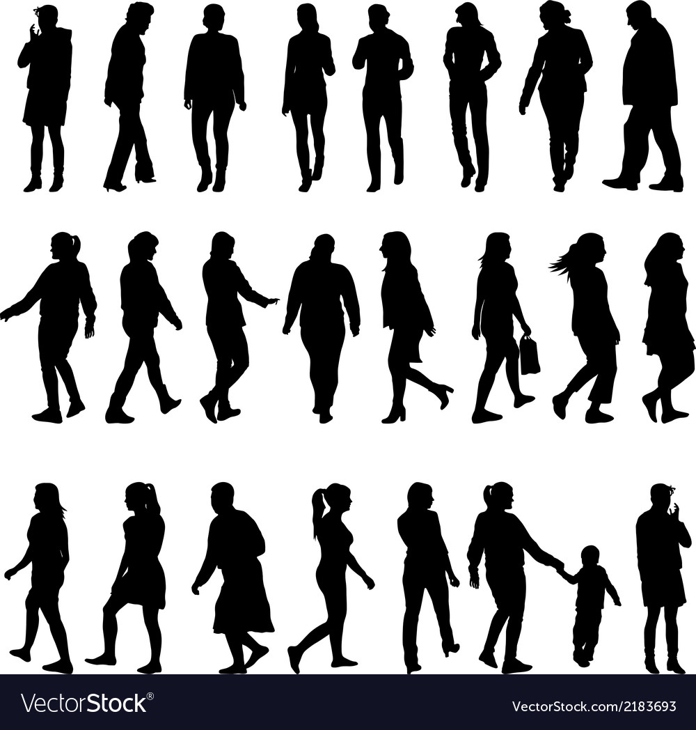 Black silhouettes of beautiful mans and womans on vector | Price: 1 Credit (USD $1)