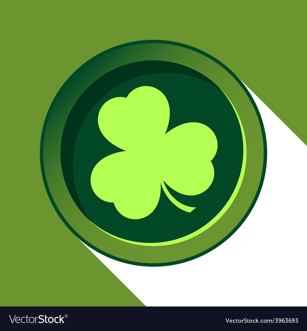 Button with light green shamrock vector | Price: 1 Credit (USD $1)
