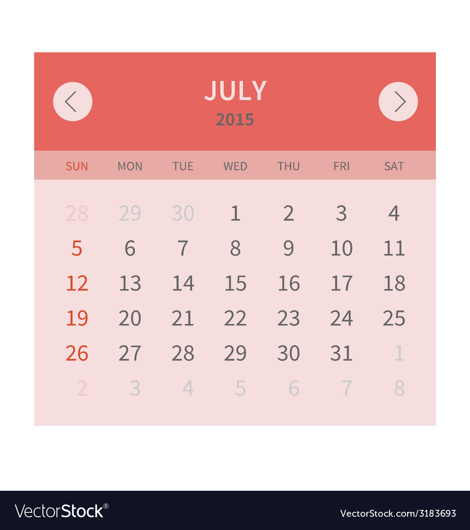Calendar monthly july 2015 in flat design vector | Price: 1 Credit (USD $1)