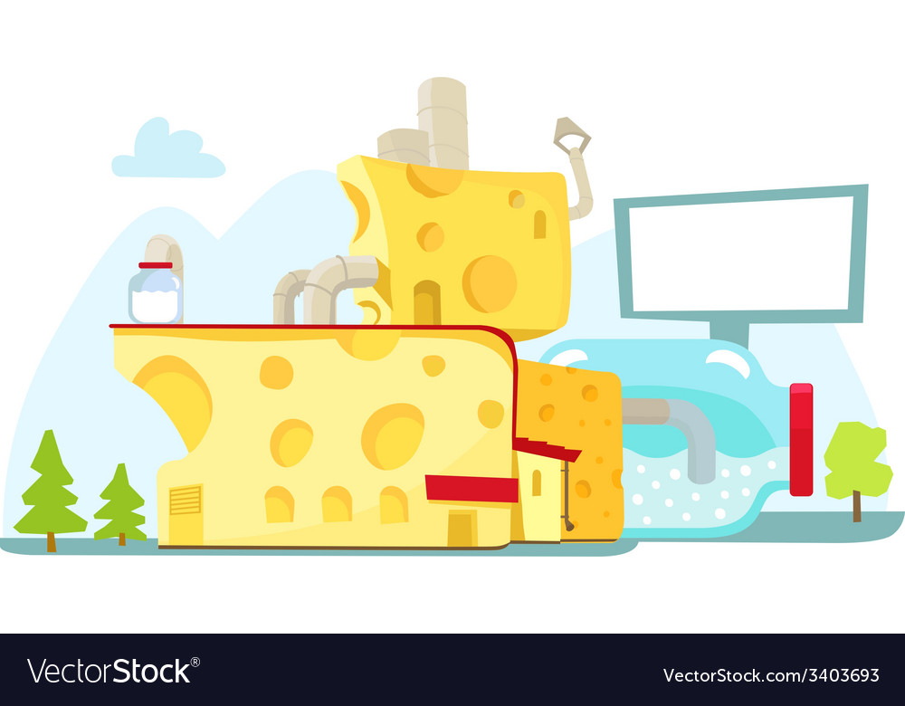 Cheese house farm milk architecture vector | Price: 1 Credit (USD $1)
