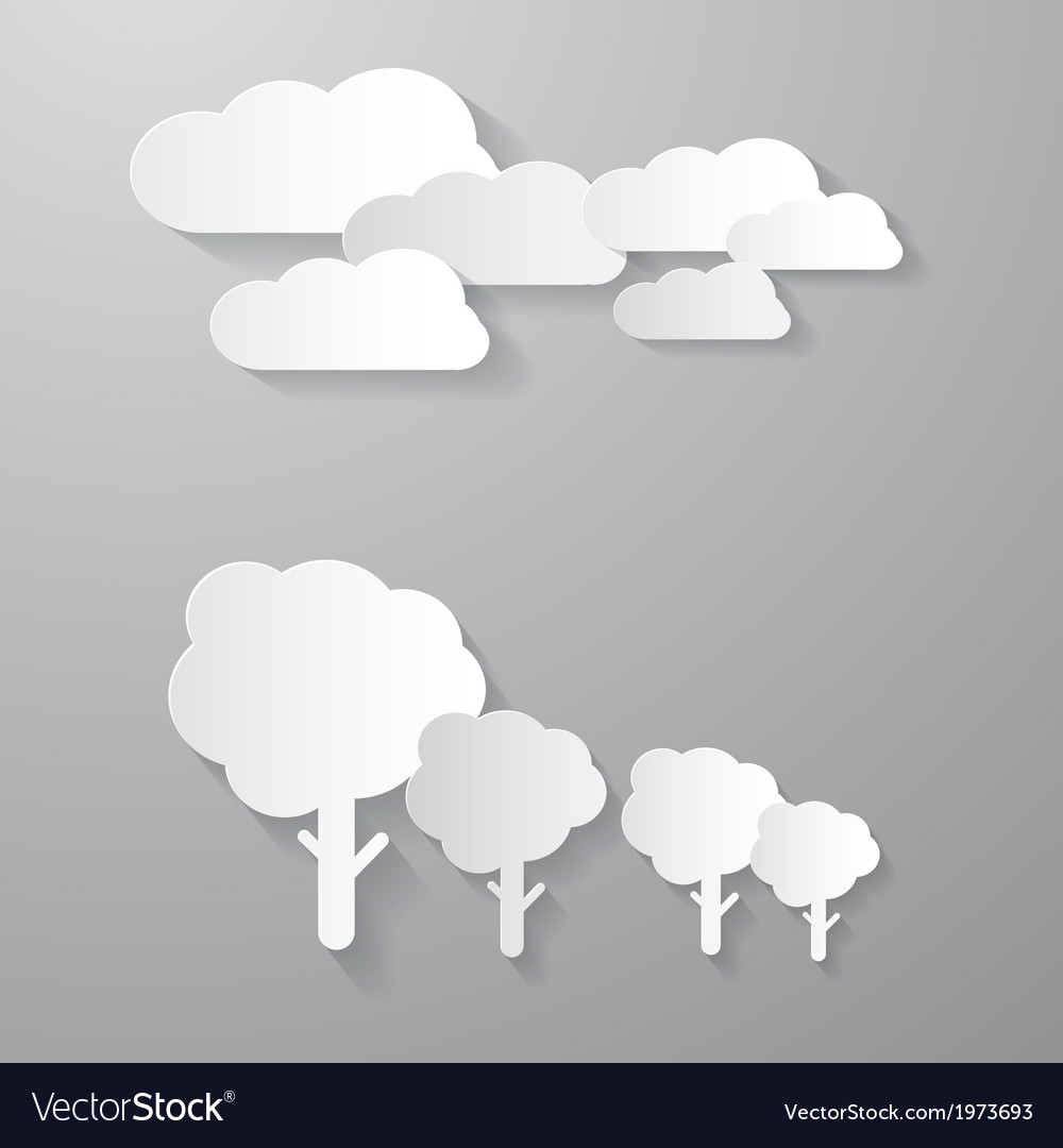 Clouds and trees cut from paper background vector | Price: 1 Credit (USD $1)