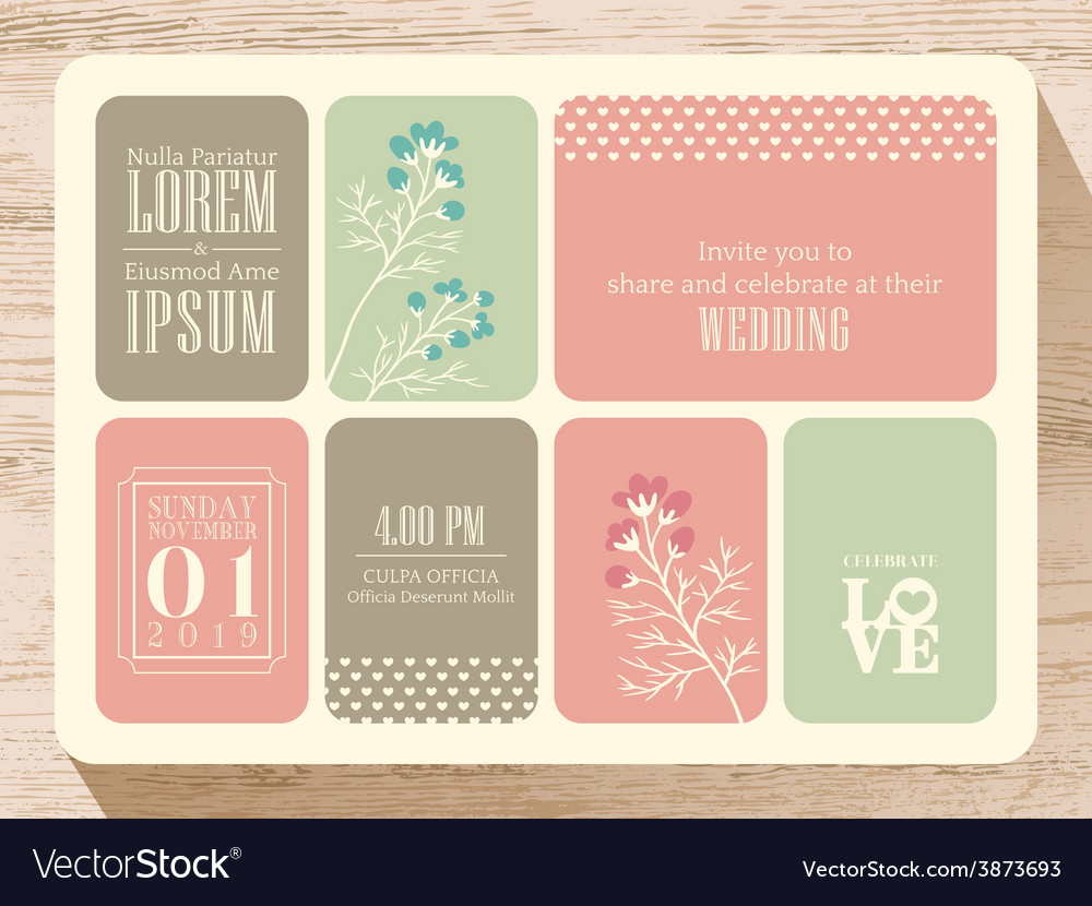 Cute pastel wedding invitation card background vector | Price: 1 Credit (USD $1)