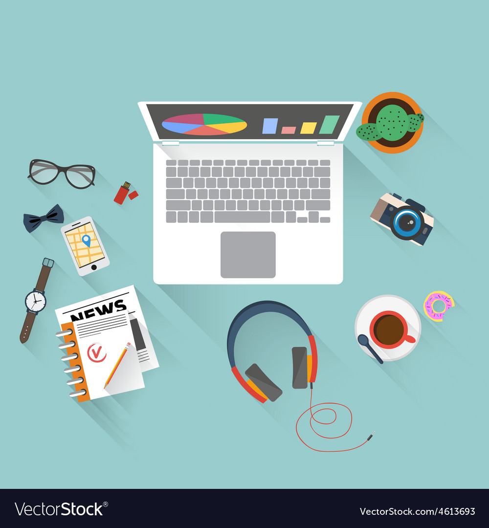 Flat design of office workspace vector | Price: 1 Credit (USD $1)