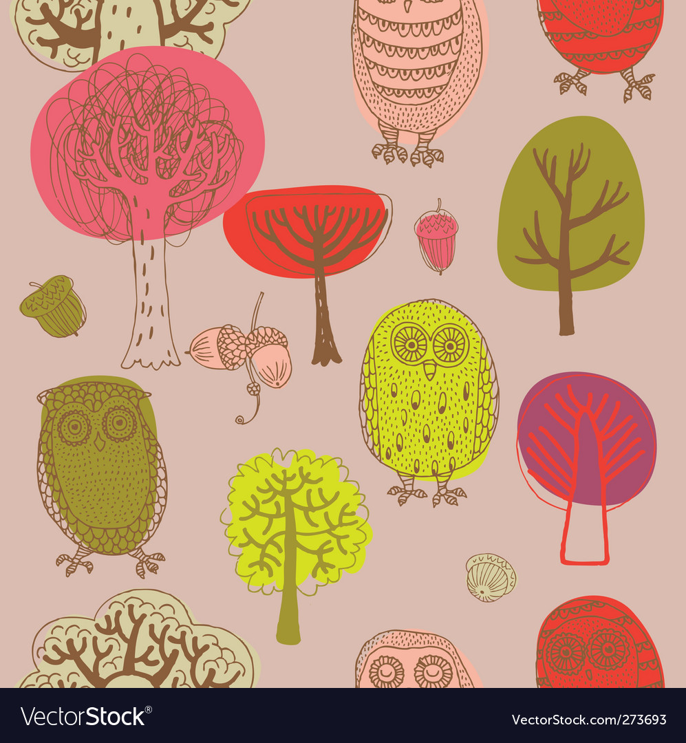 Forest with owls vector | Price: 3 Credit (USD $3)