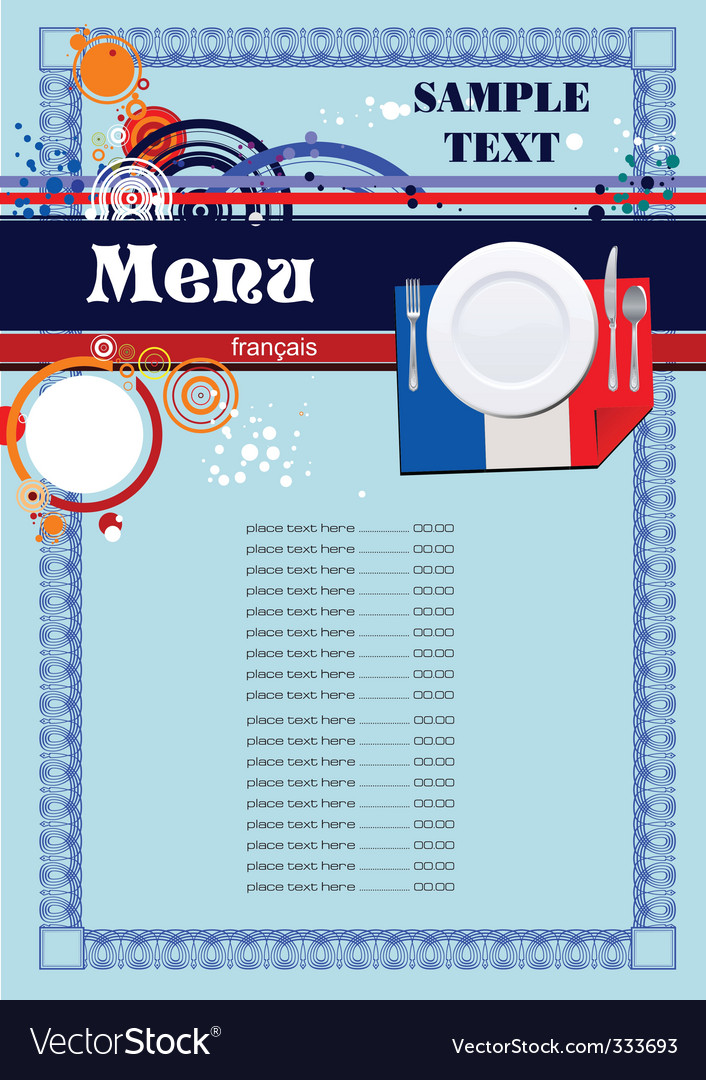French menu vector | Price: 1 Credit (USD $1)