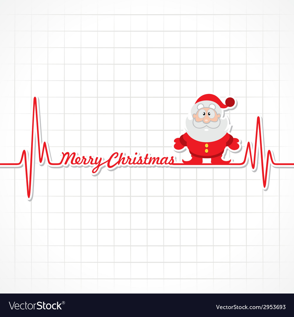 Heartbeat make merry christmas text and santa vector | Price: 1 Credit (USD $1)
