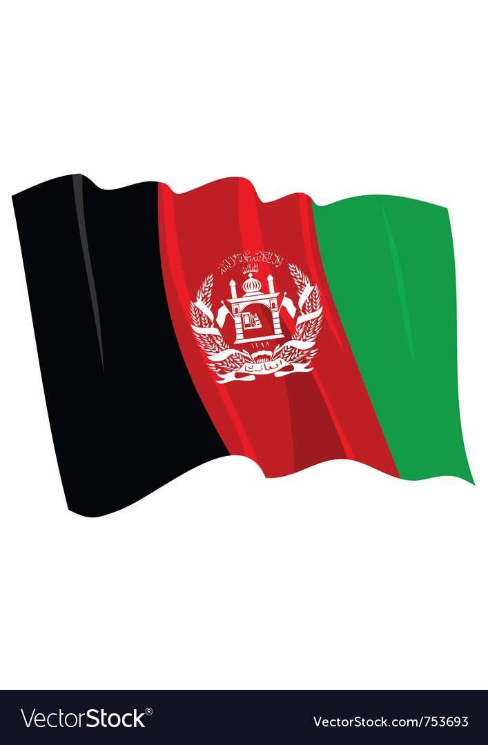 Political waving flag of afghanistan vector | Price: 1 Credit (USD $1)