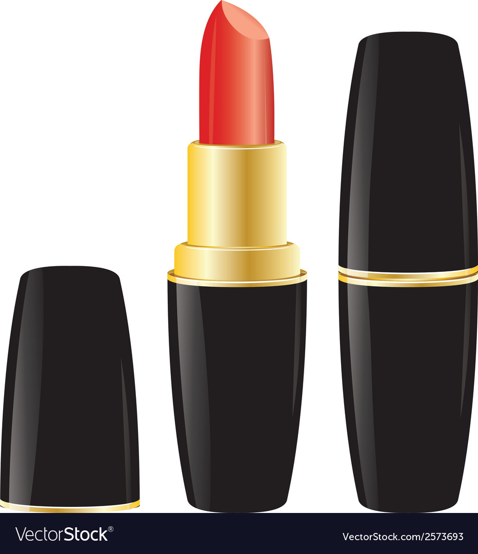 Pomade lipstick in black case on white background vector | Price: 1 Credit (USD $1)