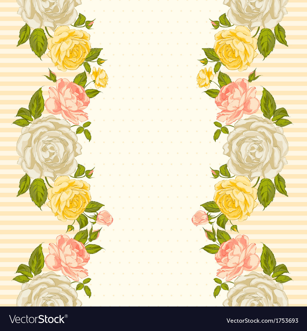Rose frame invitation card vector | Price: 1 Credit (USD $1)