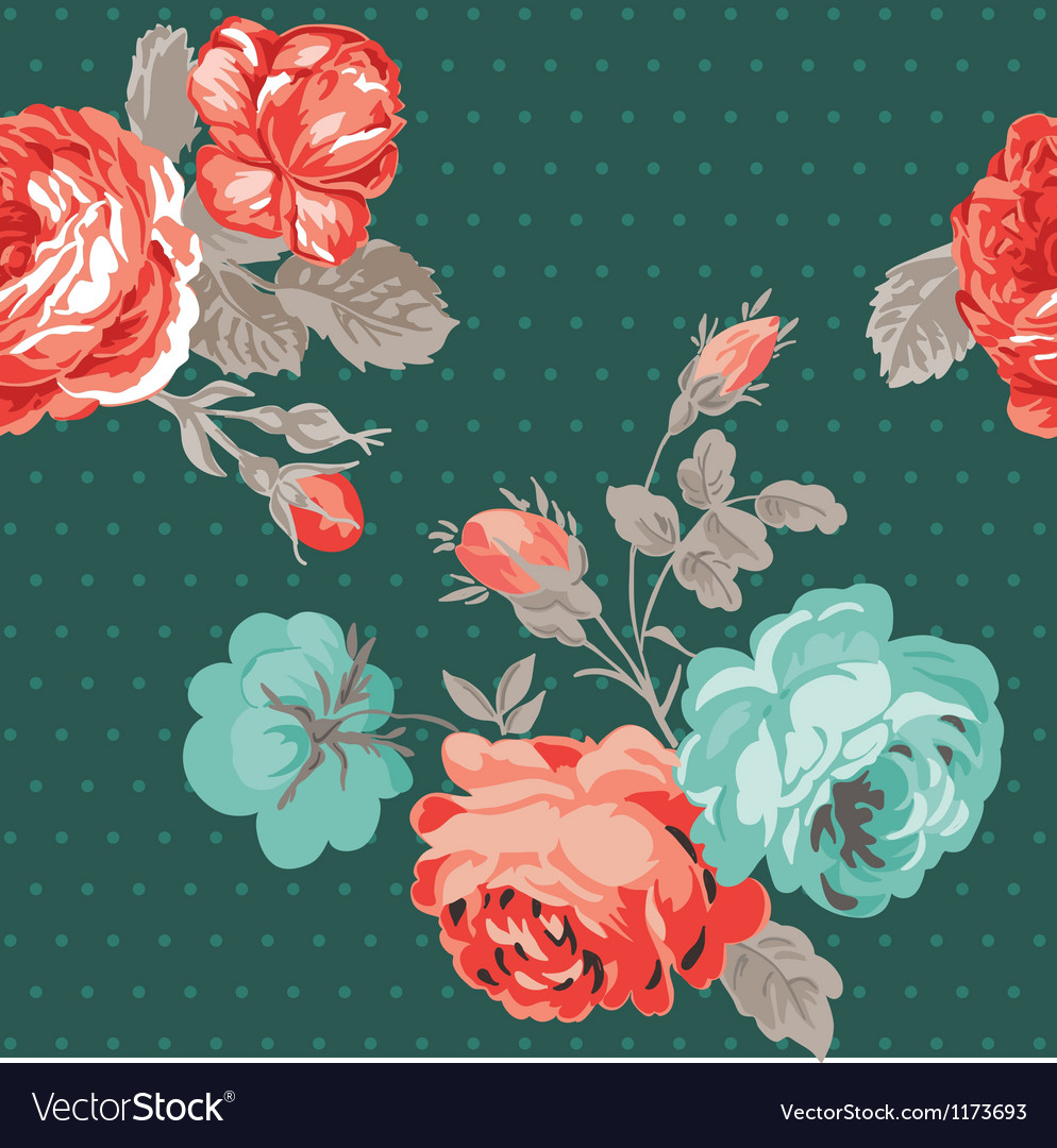 Seamless vintage flower background vector | Price: 1 Credit (USD $1)