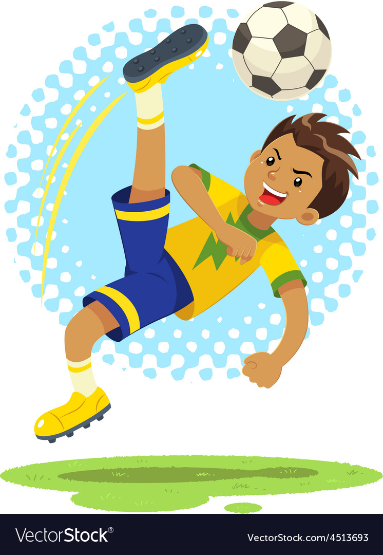 Soccer boy hit the ball use bicycle kick technique vector | Price: 1 Credit (USD $1)