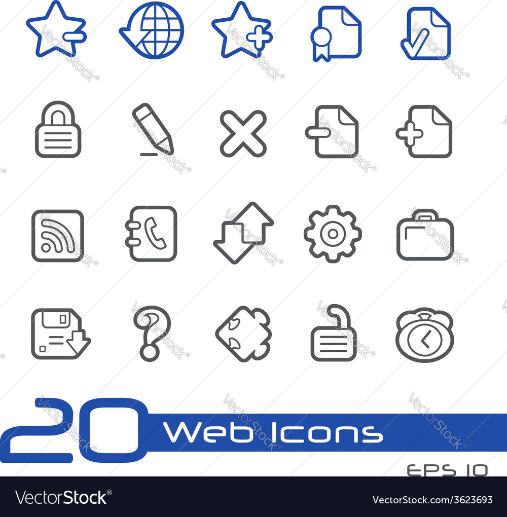 Web icons outline series vector | Price: 1 Credit (USD $1)
