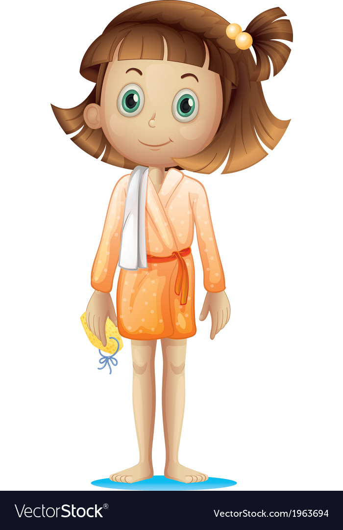 A young woman wearing a bathrobe vector   Price: 1 Credit (USD $1)