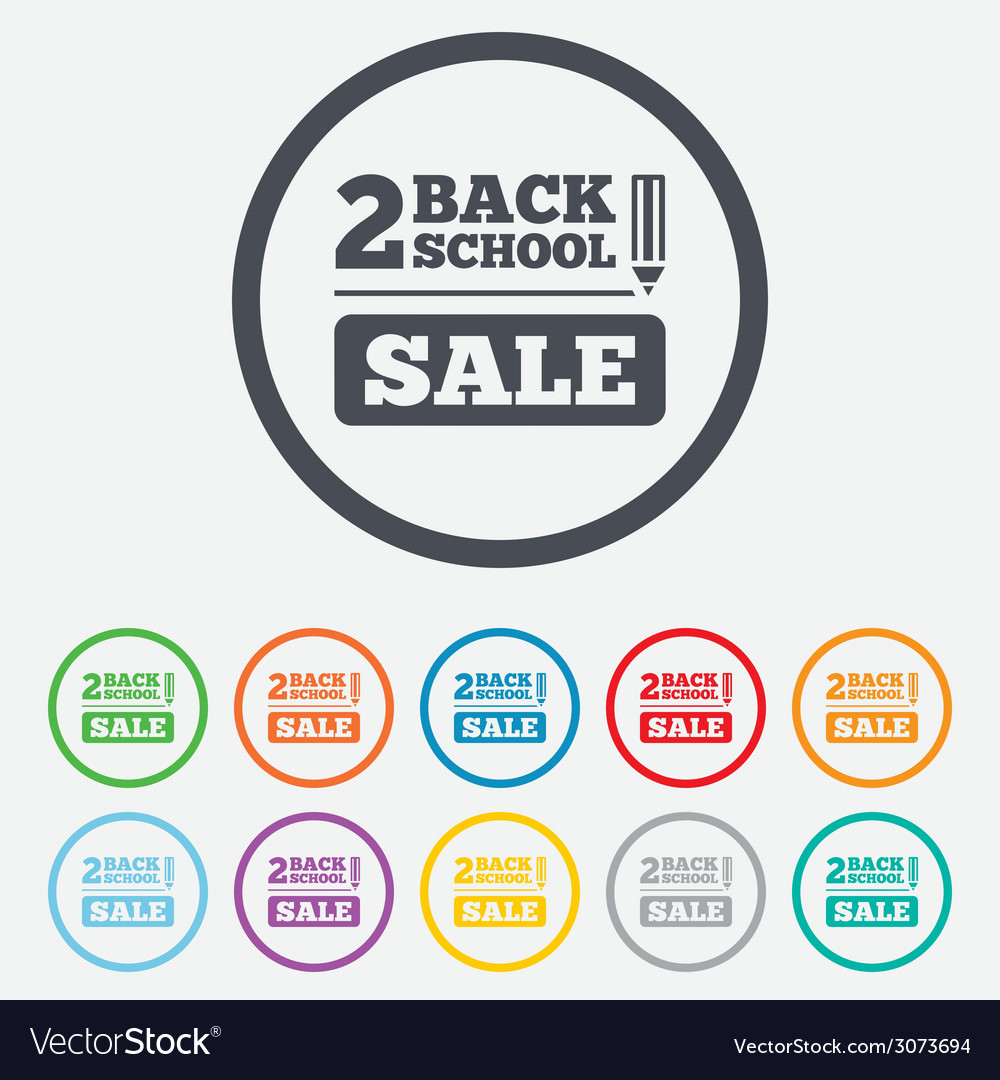 Back to school sign icon back 2 school symbol vector | Price: 1 Credit (USD $1)