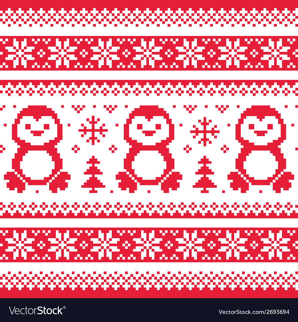 Christmas winter knitted pattern with penguins - vector | Price: 1 Credit (USD $1)