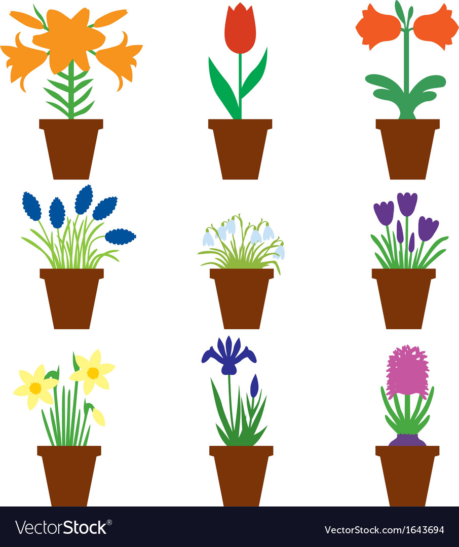 Flower pot color vector | Price: 1 Credit (USD $1)