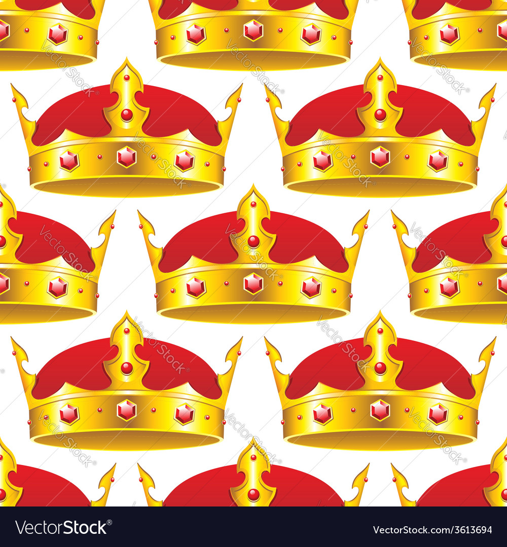 Golden crown in seamless pattern vector | Price: 1 Credit (USD $1)