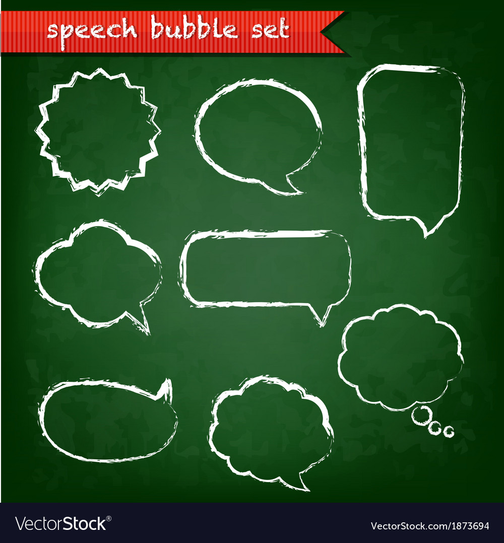 Green chalk board with speech bubbles set vector | Price: 1 Credit (USD $1)
