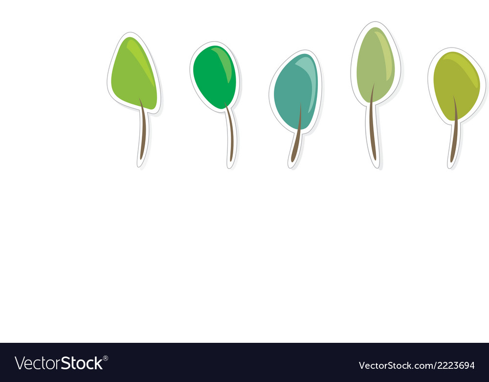 Green tree icon set - eco recycling design element vector | Price: 1 Credit (USD $1)