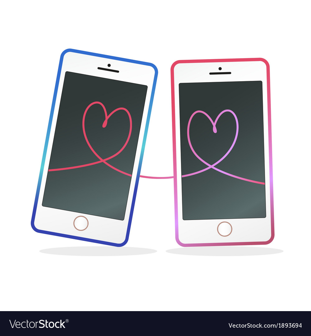 Mobile in love vector | Price: 1 Credit (USD $1)