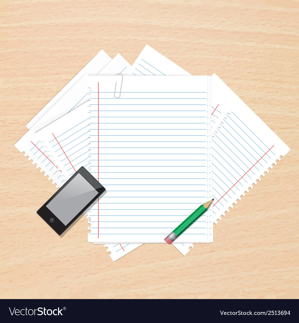 Paper on table vector | Price: 1 Credit (USD $1)